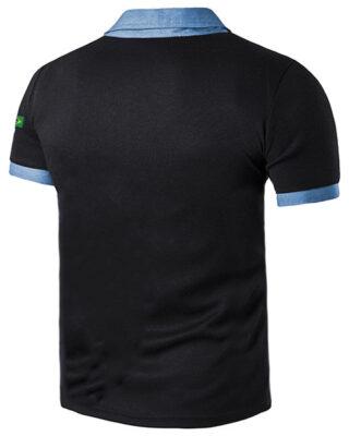 Camisa Polo com detalhes Jeans na gola e punhos com logo da sua empresa – kit 4 pçs