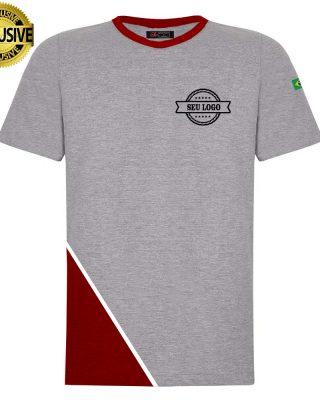 Camiseta personalizada cinza mescla com detalhes em embaixo com sublimação kit 10 pçs