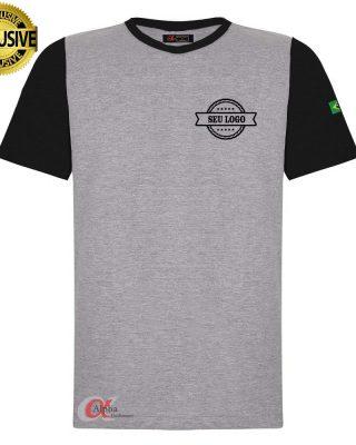 Camiseta cinza mescla com mangas em outra cor personalizada com sublimação kit 10 pçs