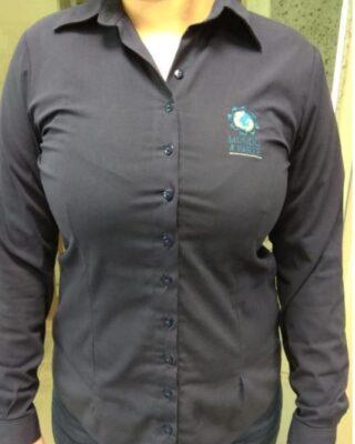 Camisa Social Feminina azul marinho Franquia Mundo a Parte Kit 4 Pçs