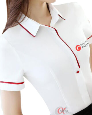 Camisa com detalhes diferenciados Personalizada para uniformes profissionais c/ 4 pçs