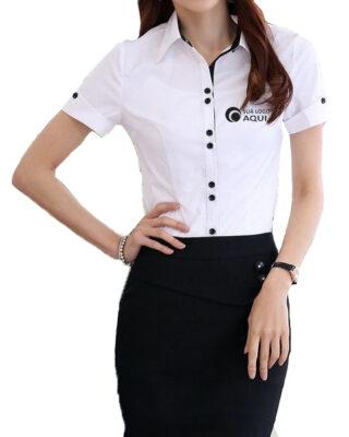 Camisa feminina Personalizada com botões duplos para uniformes c/ 4 pçs
