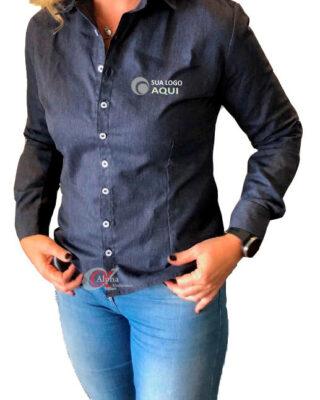 Camisa Jeans feminina algodão 100% para uniformes e fardamentos profissionais – Kit c/ 4pç