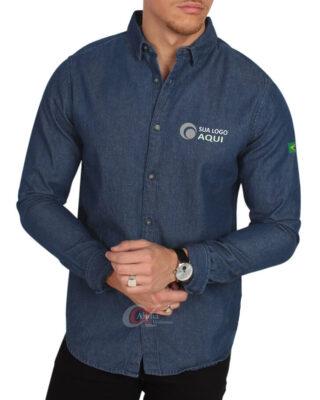 Camisa Jeans social feminina e/ou masculina personalizada para uniformes fardamentos profissionais algodão – Kit c/ 4pç