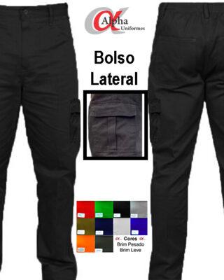 Calça Cargo 1/2 elástico em Brim uniforme Profissional kit 4 Pçs