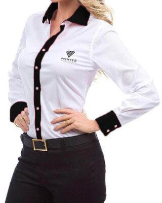 Camisa Feminina branca manga longa franquia Premyer – kit 4 pçs