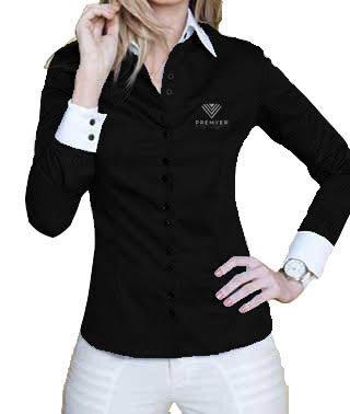 Camisa Feminina preta com detalhes franquia Premyer – kit 4 pçs
