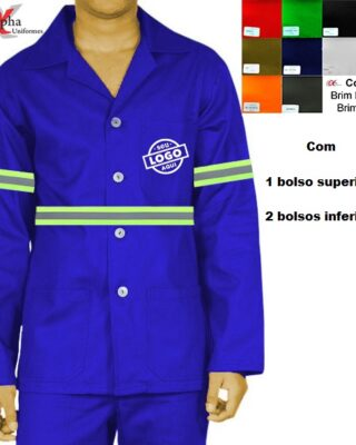 Camisa Jaleco em brim manga longa com faixa refletiva – Kit c/ 4pç