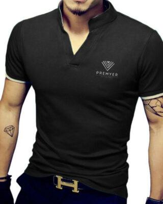 Camiseta gola alta decote V com elastano franquia Premyer – kit com 4 pçs