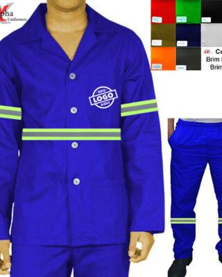 Conjunto camisa-jaleco + calça em brim com faixa refletiva – Kit c/ 4pç