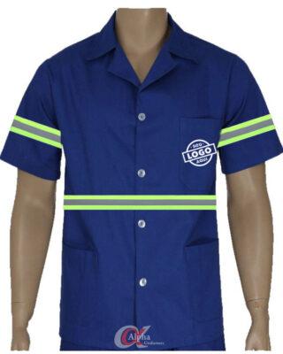 Camisa Jaleco em brim profissional com faixa refletiva manga curta personalizado – Kit c/ 4pç