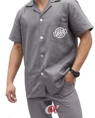 Camisa Jaleco profissional em brim manga curta personalizado – Kit c/ 4pç